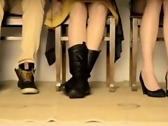 Under the table upskirt with two ladies on Watchteencam.com
