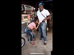 Latina girl making a blowjob at a reggaeton party on Watchteencam.com