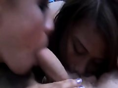 Two asian amateur teens suck and fuck in a threesome on Watchteencam.com