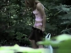 Hooker caught changing her clothes in forest on Watchteencam.com