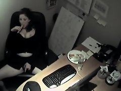 Secretary got spied while horny on Watchteencam.com