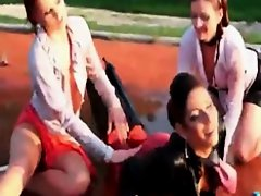 Nasty lesbian three-way fun outside on Watchteencam.com