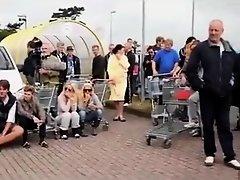 German nudists buying in the store on Watchteencam.com