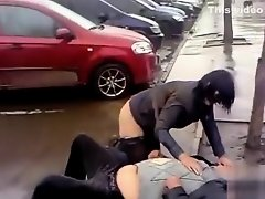 Drunk boss and his crazy secretary on the street on Watchteencam.com