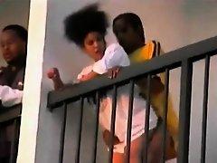 Fuck on the balcony on Watchteencam.com