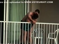 Voyeur caught them fuck on the balcony on Watchteencam.com