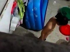 Spying on Thai neighbor taking a bath outside on Watchteencam.com