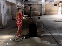 Hot and voluptuous blonde runs around the building naked on Watchteencam.com