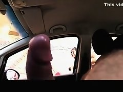 Dude masturbates his black cock inside car on Watchteencam.com