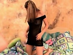 Glamorous brunette getting cuffed and teased by her boy on Watchteencam.com