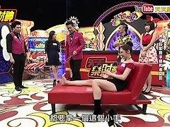 Taiwan model tickling feet on TV show on Watchteencam.com