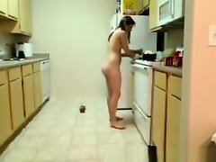 Room mate cooking naked on Watchteencam.com