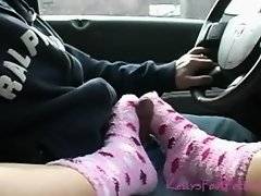 Fuzzy pink sockjob in the car on Watchteencam.com