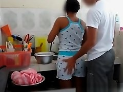 Guy gropes girlfriends ass in kitchen on Watchteencam.com