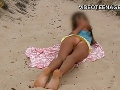 teen nudist at beach on Watchteencam.com
