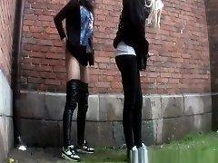 Compilation of women peeing outdoors in public on Watchteencam.com
