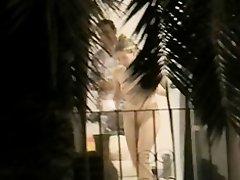 Naked in front of balcony door on Watchteencam.com