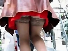 Stockings upskirt on escalator on Watchteencam.com