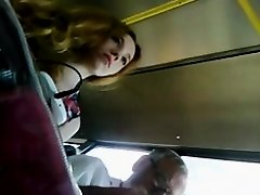 Upskirt russian ginger in bus on Watchteencam.com