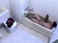 Cutie takes a bath and washes everything on Watchteencam.com