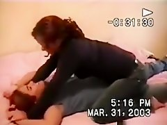 Guy tapes 2 hot lesbian girls make-out with their tits naked on the bed on Watchteencam.com