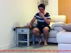 Mature British Guy Sneezing and Wearing Flip Flops (Sneeze Fetish Video) on Watchteencam.com
