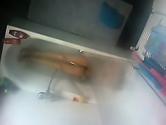 Spying my cousin naked in a bath tub on Watchteencam.com