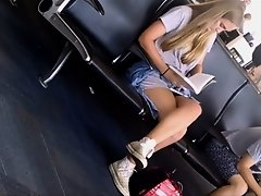 Upskirt before boarding the plane on Watchteencam.com