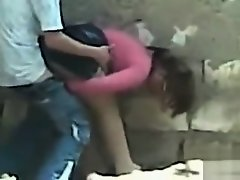 Pounding his girlfriend doggystyle in public on Watchteencam.com