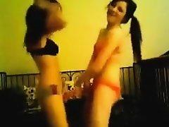 two hot emo chicks dancing in their underwear on Watchteencam.com