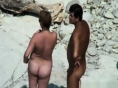 Chubby mature nudist woman at beach on Watchteencam.com