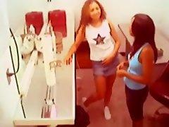 2 ebony girls have lesbian sex in the lockerroom on Watchteencam.com