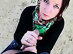 Cute German cutie giving a oral-stimulation for the 1st time in outdoor place on Watchteencam.com