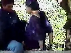 Muslim ponytailed hijab girl kisses and rides her bf in public on Watchteencam.com