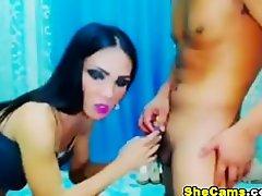 Wild Shemale Rides Her Man on Watchteencam.com