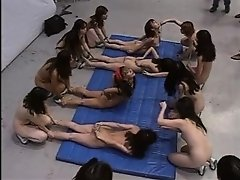 Japanese TV Game Show Calisthenics with 64 Naked Girls on Watchteencam.com