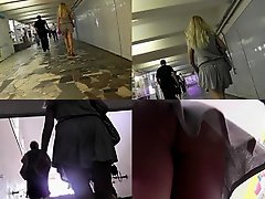 Upskirt porn with a skinny ass gal in a public place on Watchteencam.com
