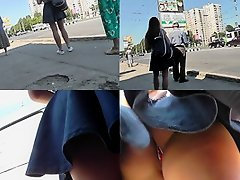 G-string wearing brunette filmed in upskirt video clip on Watchteencam.com