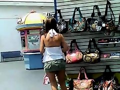 Trina flashing Broadway at the Beach vendors on Watchteencam.com