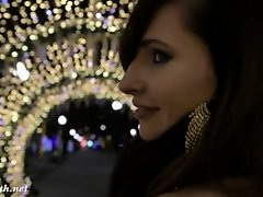 Jeny Smith naked in snow fall walking through the city on Watchteencam.com