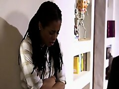 Ebony teen saving house from banker on Watchteencam.com