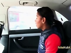 Ebony busty gal fucks in taxi on Watchteencam.com