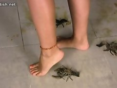 Naked & barefoot crawdad crush - Kristina on Watchteencam.com