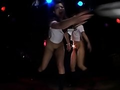 2 sexy japanese gogo girls dancing bottomless to the music on Watchteencam.com