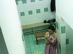 Women naked in locker room on Watchteencam.com
