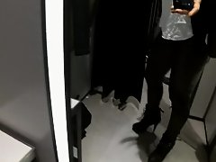 Stunning girl cums and squirts in the fitting room at the Store. on Watchteencam.com