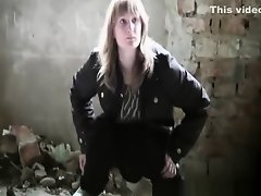 Teen pissing abandoned place on Watchteencam.com