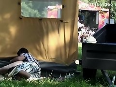 Good looking fangirl gets rammed behind a tent at the open air party on Watchteencam.com