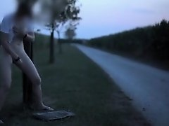 Hot wife masturbates on the side of a road on Watchteencam.com