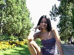 Kira Walk in park without cowards on Watchteencam.com